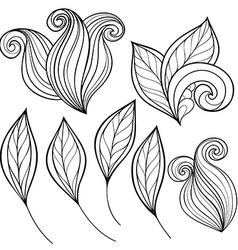 Set of Monochrome Contour Leaves vector image vector image