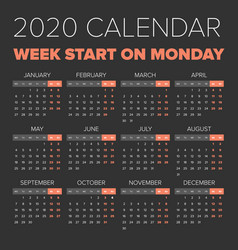 simple 2020 year calendar vector image vector image