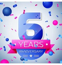 Six years anniversary celebration on grey vector