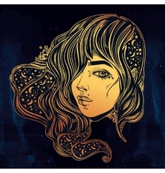 The face ofa girl with stars in her hair vector
