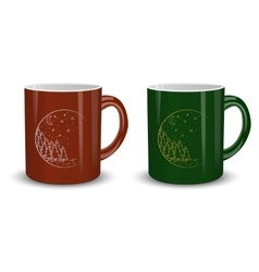 Two cups of hot Christmas vector image vector image