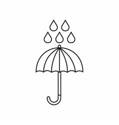 Umbrella and rain drops icon outline style vector