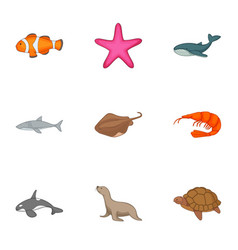 Underwater animals icons set cartoon style vector