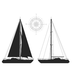 Yachts isolated on white background vector image vector image
