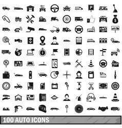 100 auto icons set simple style vector