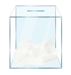 Realistic modern glass transparent ballot box with vector