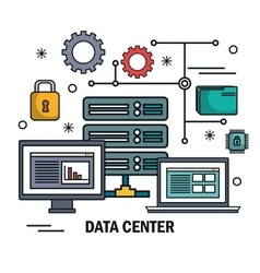 Data center server technology digital isolated vector