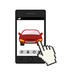 Smartphone device with rent a car app vector