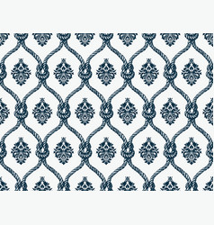 Rope seamless tied fishnet damask pattern vector