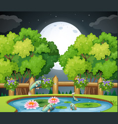 Fish in the pond at nighttime vector