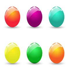 Easter set colorful eggs isolated on white vector image