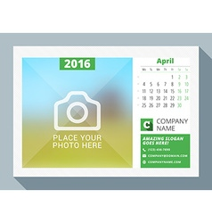 April 2016 desk calendar for 2016 year design vector