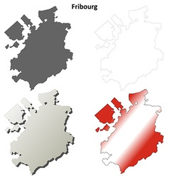 Fribourg blank detailed outline map set vector