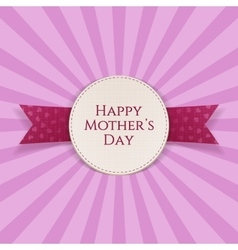 Mothers day realistic greeting emblem with ribbon vector
