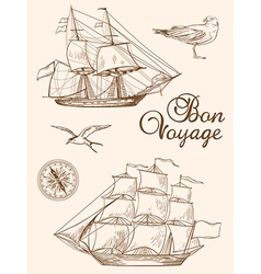 Set of vintage hand drawn sailing ships vector