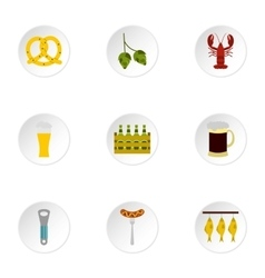 Alcoholic beverage icons set flat style vector