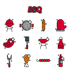 Barbecue and grill icon set vector