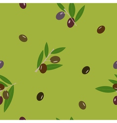 Black and green olive and leaves green seamless vector image