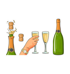 Bottle of champagne explosion and hand hold glass vector