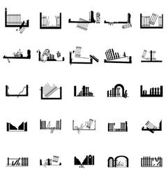 Broken fence silhouettes set vector