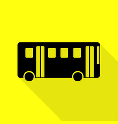 bus simple sign black icon with flat style shadow vector image vector image