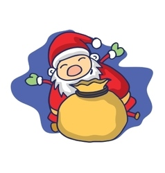 Christmas theme with santa claus and gift bag vector
