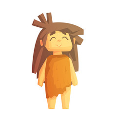 Cute cave girl smiling with closed eyes stone age vector