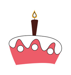 Delicious cake with candle celebration icon vector