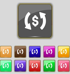 Exchange icon sign Set with eleven colored buttons vector image