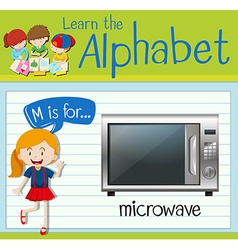 Flashcard letter M is for microwave vector image