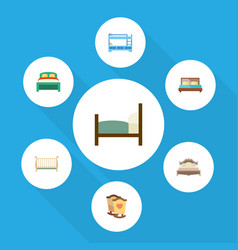 Flat bedroom set of bed hostel cot and other vector