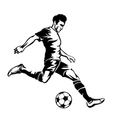 Football player with soccer ball silhouette vector image