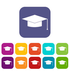 Graduation cap icons set vector