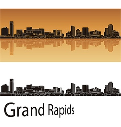 Grand Rapids skyline in orange background vector image