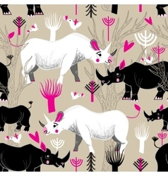 Graphic pattern of rhinoceroses lovers vector image vector image