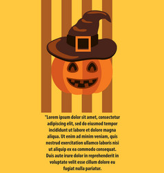halloween poster with text pumpkin in witches hat vector image