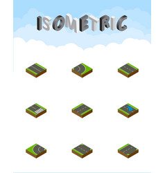 Isometric way set of flat plash down and other vector