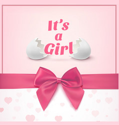 Its a girl Template for baby shower celebration vector image vector image