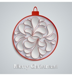 Light Christmas background with red paper vector image