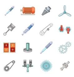 Mechanism parts icons set cartoon style vector