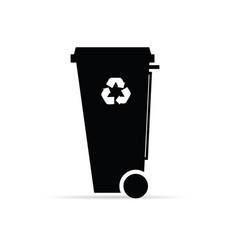recycle trashcan in black color vector image vector image