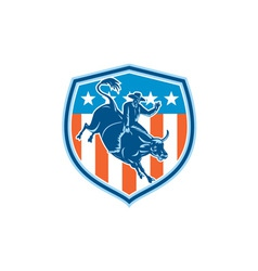 Rodeo Cowboy Bull Riding Flag Shield Retro vector image vector image