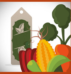Sale vegetables fresh food style vector