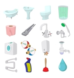 Sanitary engineering cartoon icons vector