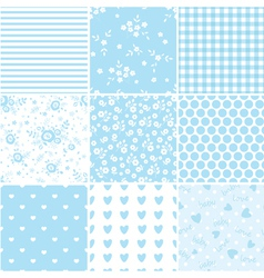 Set of abstract blue seamless patterns 2 vector image
