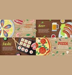 Set of national dishes flat style banners vector