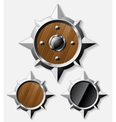 Shields from steel and wood isolated on grey vector image
