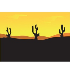 Silhouettes of cactus at the afternoon vector