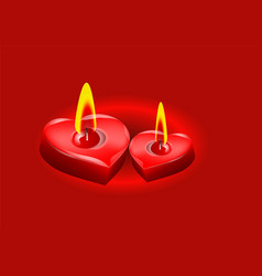 Two candle in the form of heart vector