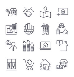 Web icon set real estate property realtor real vector